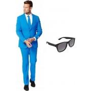 Blauw heren kostuum / pak - maat 48 (M) met gratis zonnebril