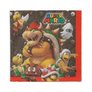 """amscan Swank Super Mario Brothers Birthday Party Luncheon Napkins Tableware (16 Pack), 6 1/2"""" x 6 1/2"""", Multicolor"""