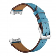 Genuine Leather Coated Smart Watch Band Strap for Fitbit Charge 4 / 3 - Blue