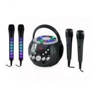 SingSing preto + Dazzl Mic Set Sistema de karaokê com Microfone Iluminação de LED