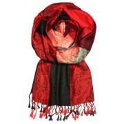 Damaskus Dream - elegantní šála pašmína LZ11 tmavě červená