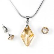 Aura arany színű Swarovski® kristályos ékszerszett - Rhombus 19 mm, Golden Shadow + díszdoboz