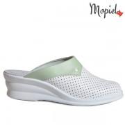 Papuci medicinali din piele naturala 260902/50-07/Alb-Verde/Melania