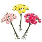 Mini Paper Roses - 30 Small Artificial Flowers in 3 different colours: yellow, dark pink & bright pink. Diameter size 1cm.