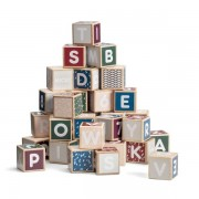 Cuburi colorate de construit cu litere si numere, 36 piese - Micki