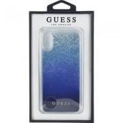 Guess Glitter Hard Case - дизайнерски кейс с висока защита за Apple iPhone XS, iPhone X (тъмносин)