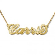 Personalized Men's Jewelry Brushed Carrie Style Personalized 14K Solid Gold Name Necklace 101-01-113-01
