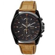 Seiko Black Leather Round Dial Quartz Watch For Men (SNDD69P1)
