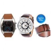 Jack Klein Brown Speed Meter Style Digital LED Light Watch Brown Strap Watch And Brown Belt