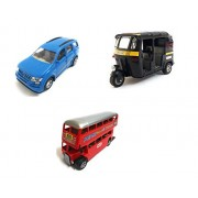 3 Combo Vehicle Toys of Mahindra XUV 500 Car, Auto Rickshaw and Double Decker Bus Toy for Kids | Pull Back and Go | Openable Doors | Blue, Black and Red Color | Set of 3 Toys