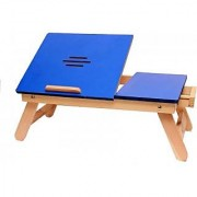 IBS Blue Matte With Drawer Solid Wood Portable Laptop Table (Finish Color - Blue)