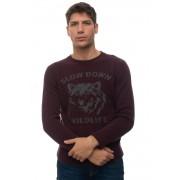 Brooksfield Pullover girocollo Bordeau Lana Uomo