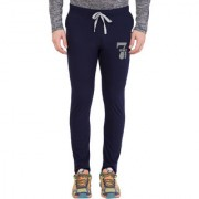 Cliths Men's Navy Blue Cotton Slim Fit Printed Track Lower