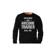 Bellatio Decorations Awesome / geweldige trainer cadeau sweater zwart heren