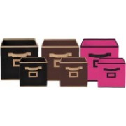 Billion Designer Non Woven 6 Pieces Small & Large Foldable Storage Organiser Cubes/Boxes (Black & Coffee & Pink) - CTKTC35378 CTLTC035378(Black & Coffee & Pink)