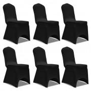 vidaXL Еластични калъфи за столове, черни – 6 броя