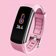 LEMONDA Smart Watch C6T 0.96'' Color Screen Temperature Monitoring HR Bracelet - Pink