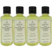 Khadi Pure Herbal Orange Lemongrass Face Wash Paraben Free - 210ml (Set of 4)
