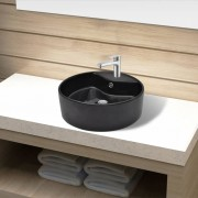 vidaXL Ceramic Bathroom Sink Basin Faucet/Overflow Hole Black Round