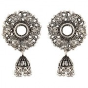 Floral Silver Antique Jhumki Earring Flower Shape Big Size 4 CM Beautiful Light Weight Wedding Party College Matching Ea
