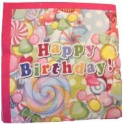 Papír szalvéta 20 db/cs, happy birthday, édességes