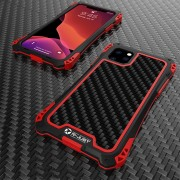 R-JUST ShocKproof Carbon Fiber Skin Silicone + Metal Back Case for iPhone 11 Pro Max 6.5 inch (2019) - Black/Red