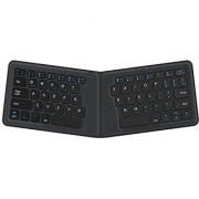 iClever Bluetooth Keyboard Ultra Compact Foldable Rechargeable Universal Wireless Keyboard for Windows iOS Mac Android Tablet Smartphone Ergonomic Design Scissor for Better Type Gray