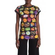 LOVE Moschino Logo Fruit Sticker Print Cap Sleeve T-Shirt STICKERSBLACK