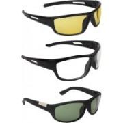Zyaden Wrap-around Sunglasses(Yellow, Clear, Green)