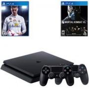 Конзола PlayStation 4 Slim 500GB Black+Игра FIFA18 за PS4, Playstation 4+Игра Mortal Kombat XL PS4+Геймпад - Sony PlayStation DualShock 4 Wireless