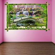 PotteLove calcomanía decorativo para pared, diseño de puente de flores de cascada con arco iris