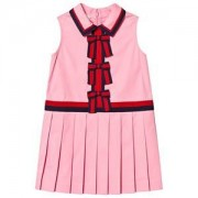Gucci Gucci Pink Cotton Sleeveless Pleated Web Bow Detail Dress 8 years