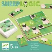 Gra logiczna SHEEP LOGIC, drewniana układanka obrazków z kostek domina DJECO DJ08473