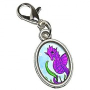 Graphics and More Seahorse Sea Horse Pink Purple - Ocean Water Cute Antiqued Bracelet Pendant Zipper Pull Oval Charm with Lobster Clasp