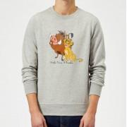 Disney Sudadera Disney El Rey León Simba, Timón y Pumba - Hombre - Gris - L - Gris