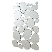 Interlocking circular ovals shapes design frameless decorative wall mirror.
