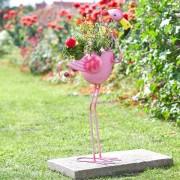 Kerti dekorációs ültető virágcserép flamingó 84 cm