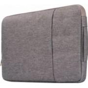 Geanta Krasscom pentru laptop macbook 15 inch din material denim cu buzunar exterior si fermoar gri