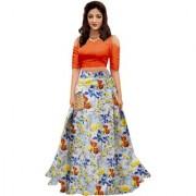 New Designer Orange and Grey Color Bangalore Satin Semi Stitched Lehenga Choli By Omstar Fashion(KaliOrange)