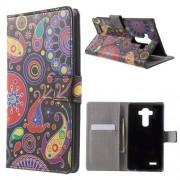 Notesz tok/ flip tok - SZÍNES VIRÁG MINTÁS - asztali tartó funkciós, oldalra nyíló, rejtett mágneses záródás, bankkártya tartó - FEKETE - LG G4