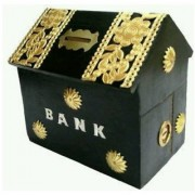 Triple S Handicrafts Black Hut Shape Coin Bank (Black)