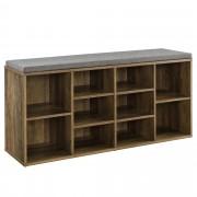 Шкаф за обувки с повърхност за сядане [en.casa]®, 103 x 30 x 48 см, ПДЧ /Текстил, Кафяв/Сив