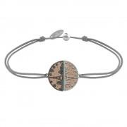 Les Poulettes Bijoux Bracelet Lien Médaille Argent Plaqué Or Rose Ruthénium Paris - Gris