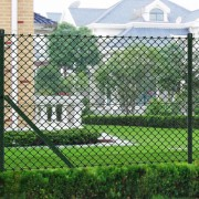 vidaXL Chain Link Fence with Posts Galvanised Steel 1.5x15 m Green