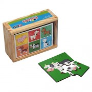Set of 6 Farm Animals Jigsaw Puzzle Toy - Wooden Jigsaw Puzzles for Kids