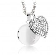 Llamador de Angeles corazon con cristales y cadena de acero MAMIJUX