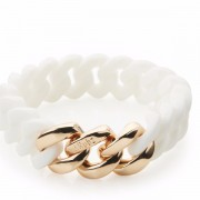 The Rubz Natural Silicone 15mm Unisex Bracelet White & Rose Gold