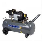 Compresor aer 100 litri, Stager HM3100V, 3CP, 8 bari, kit 4 accesorii aer comprimat ce cuprinde pistol vopsit, pistol suflat, pistol manometru, furtun spiralat