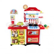 Kids Kitchen Pretend Cooking Role Play Supermarket Set Toddler Children Toy (Red)