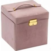 Cutie caseta eleganta Pufo pentru organizare si depozitare bijuterii din catifea